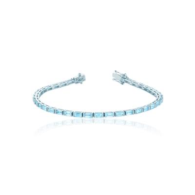 Браслет Tennis buguette серебро 925 голубой KOJEWELRY™ 50101