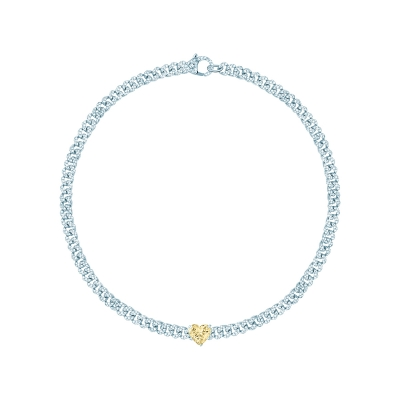 Колье Pave Chains 5mm с камнем HEART серебро 925 by KOJEWELRY™ 21003