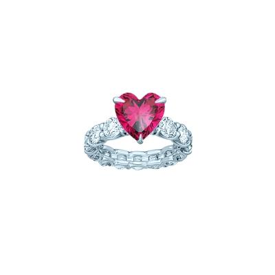 Кольцо дорожка круглой огранки со вставкой HEART цвета Рубин, серебро 925. KOJEWELRY™ 610049 / 7