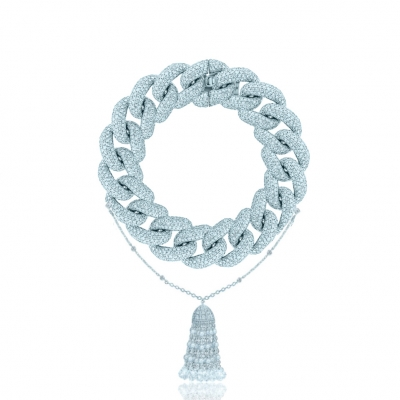 Браслет Pave Chains (15mm звено) с Кисточкой LUXURY, серебро 925. KOJEWELRY ™ 610079