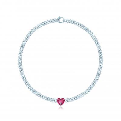 Колье Pave Chains 5mm с сердцем цвета рубин, серебро 925. KOJEWELRY ™ 610124